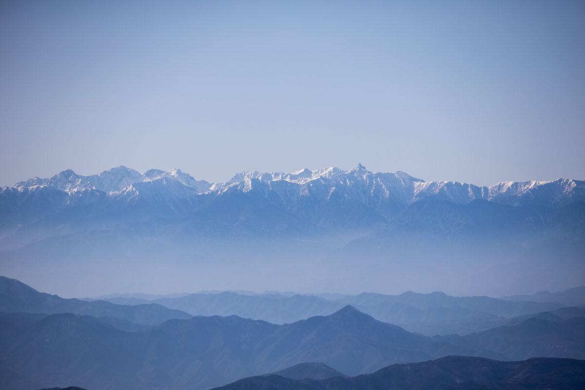根子岳-槍ヶ岳と穂高岳が見える