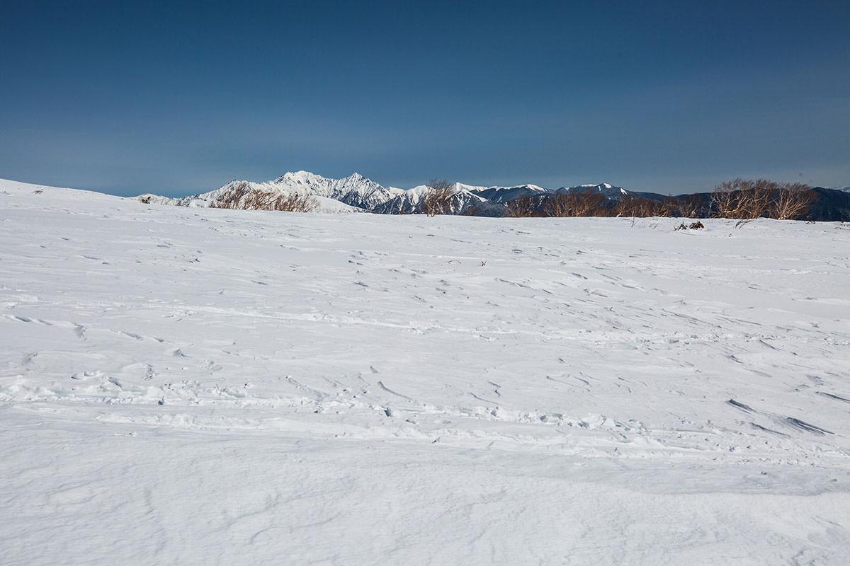 【乗鞍岳 Mt.乗鞍スノーリゾート】登山百景-右後方に穂高岳も見える