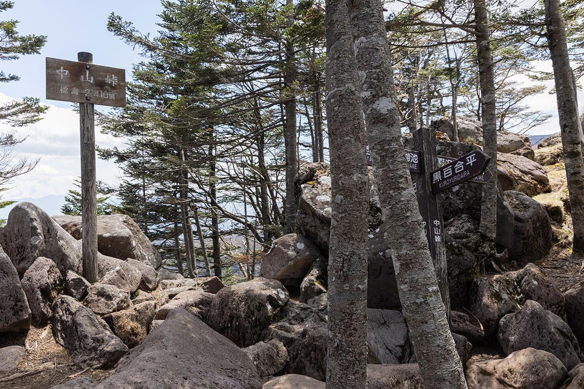 中山峠は黒百合平と天狗岳との分岐点