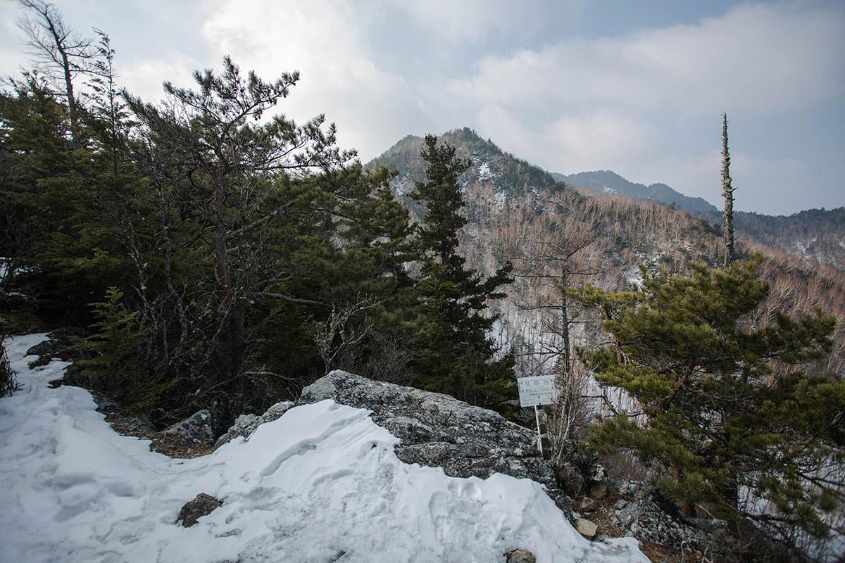 【御座山】登山百景-前衛峰が見える