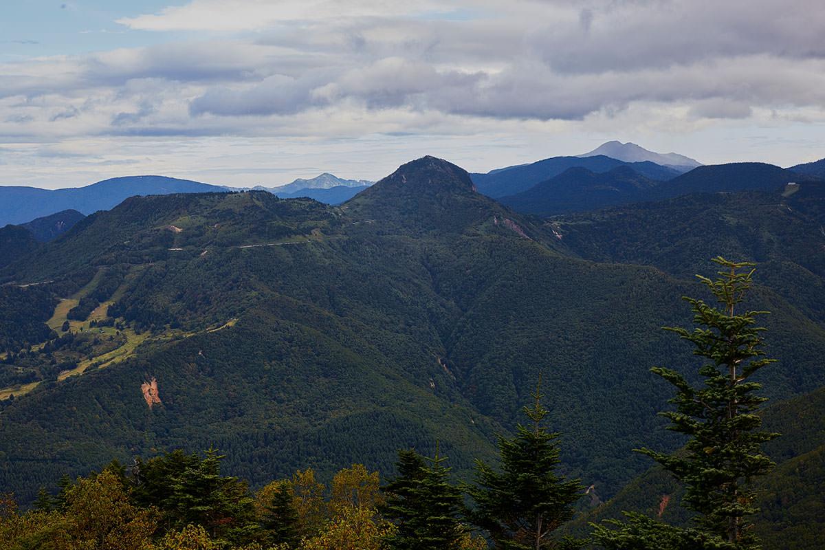 老ノ倉山-笠ヶ岳の左奥には鳥甲山、右奥には岩菅山