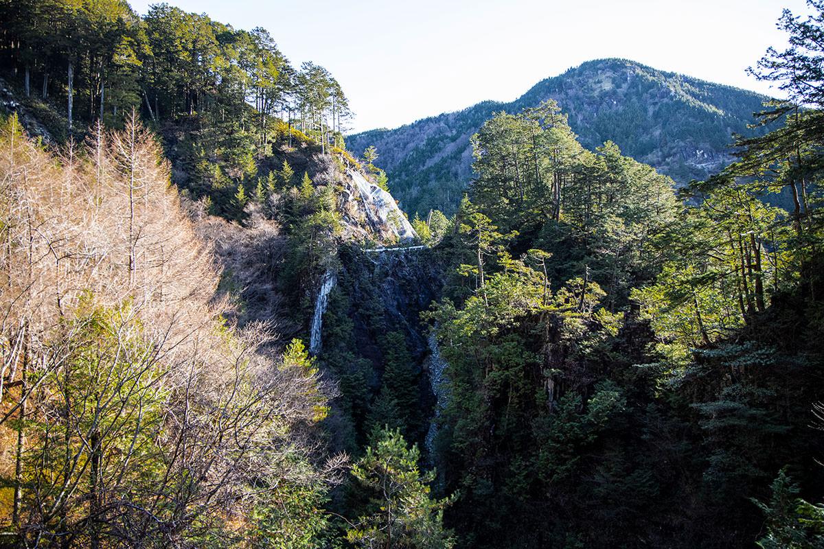 あの岩崖のところを道路が続いていく