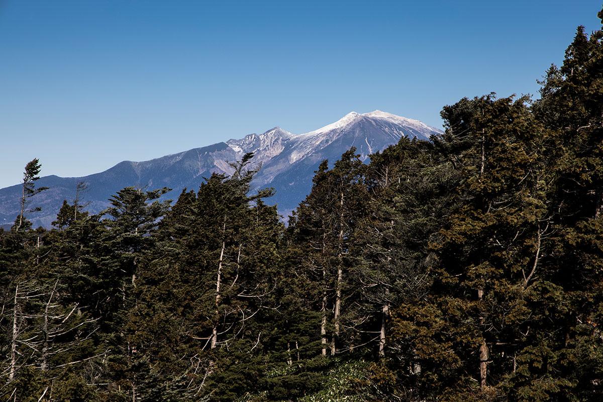北側の奥に見える御嶽山は山頂部が白かった