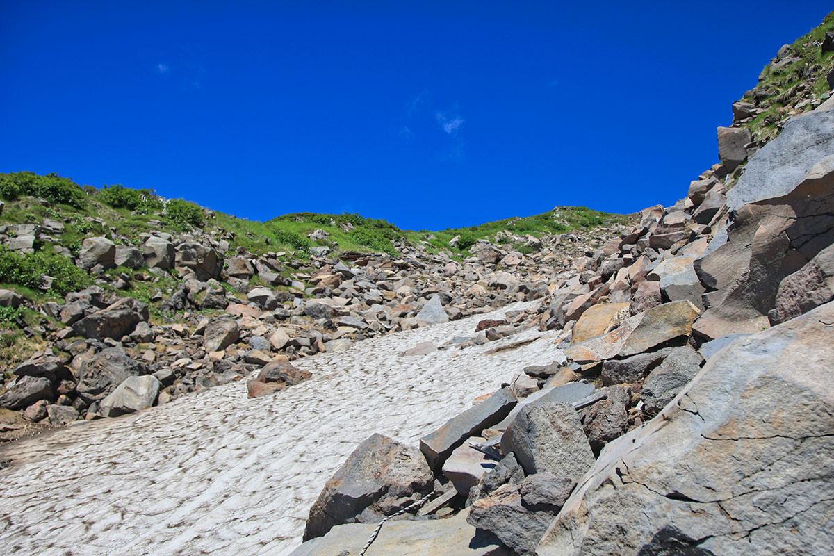 【御嶽山】登山百景-8月でも雪が残っている