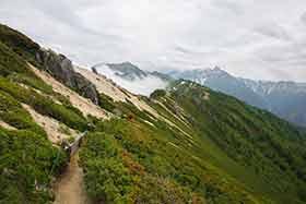 遠くに大天井岳と槍ヶ岳
