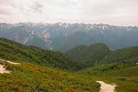 北アルプスの稜線が続く