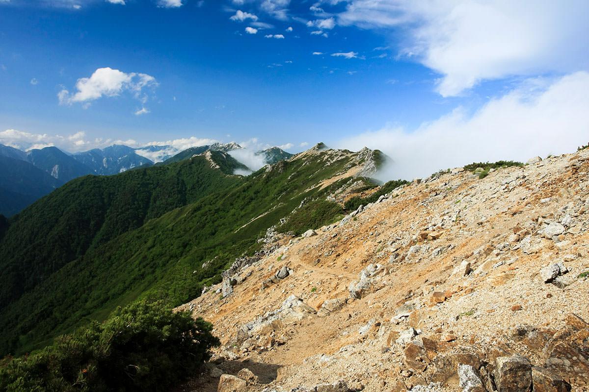 【大天井岳】登山百景-大天井岳直下の階段