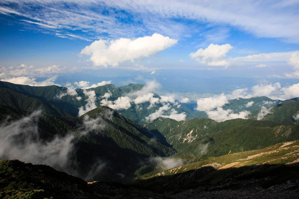 【大天井岳】登山百景-安曇野方面も見える