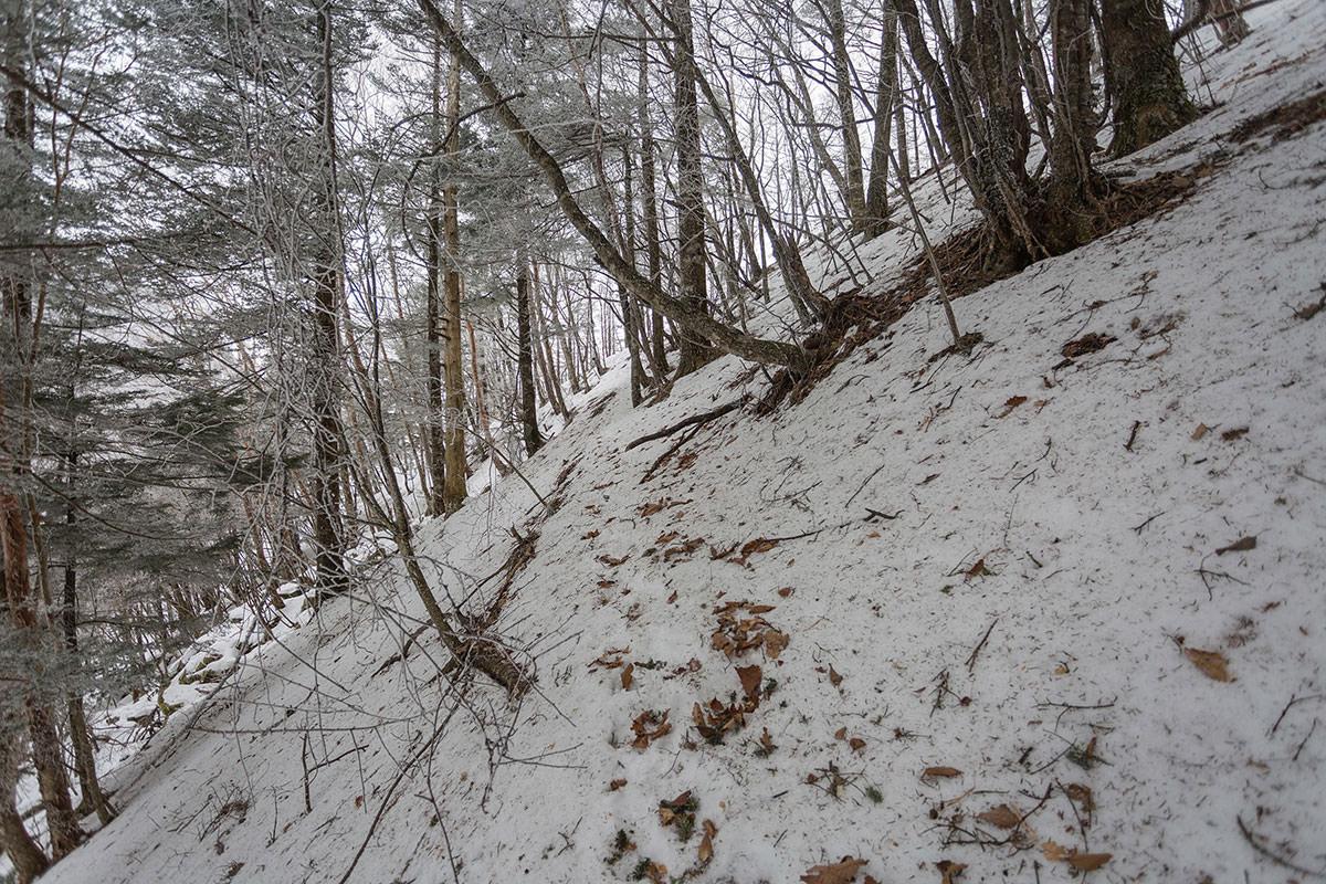【男山】登山百景-雪の斜面を横に進む