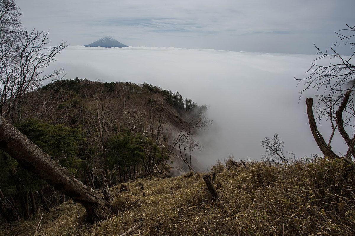 【七面山】登山百景-雲海の上に富士山が見えた
