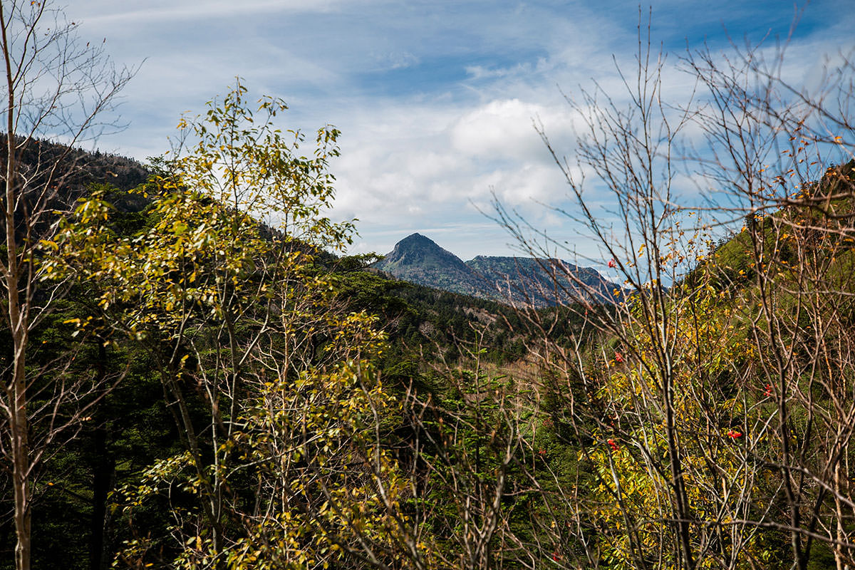 左側に笠ヶ岳