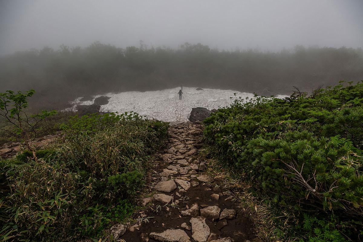 【白馬岳 栂池自然園】登山百景-雪渓を越える