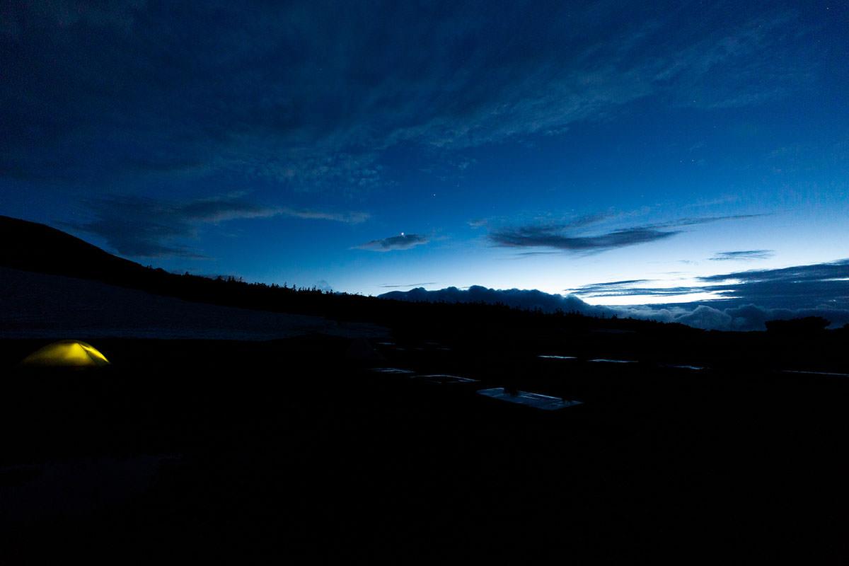 【白馬岳 栂池自然園】登山百景-夜になって雨が上がった