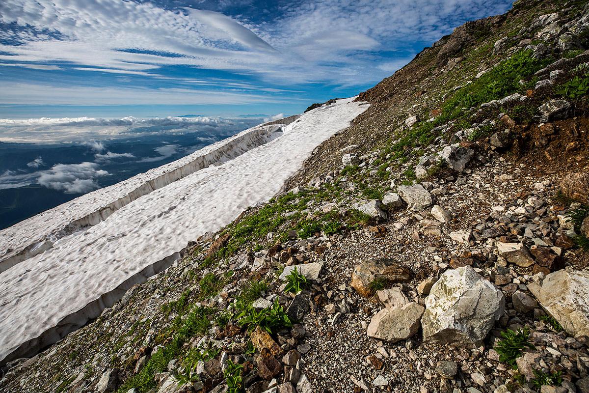 【白馬岳 栂池自然園】登山百景-雪が割れてる