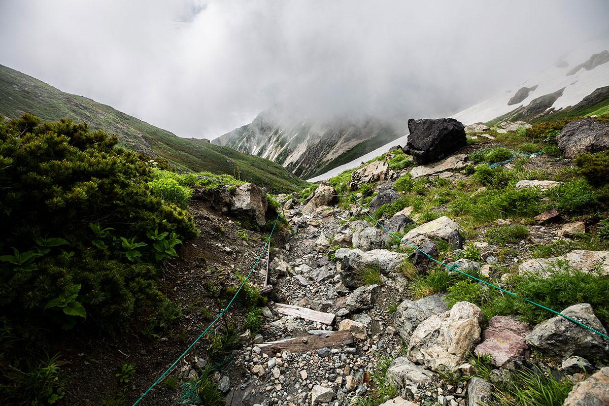 【白馬岳 栂池自然園】登山百景-大雪渓へ向かって下りる