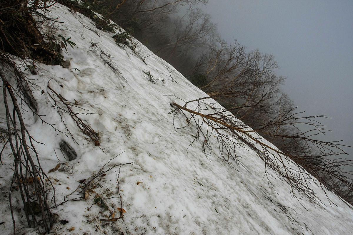 雪があるけど急登は変わらない