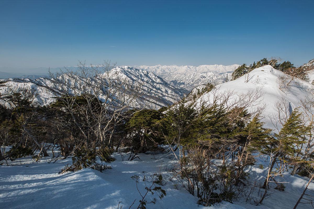 【高妻山 弥勒尾根新道】登山百景-左に北アルプス
