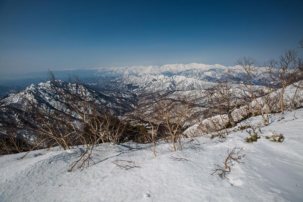 【高妻山 弥勒尾根新道】登山百景-左側には北アルプス