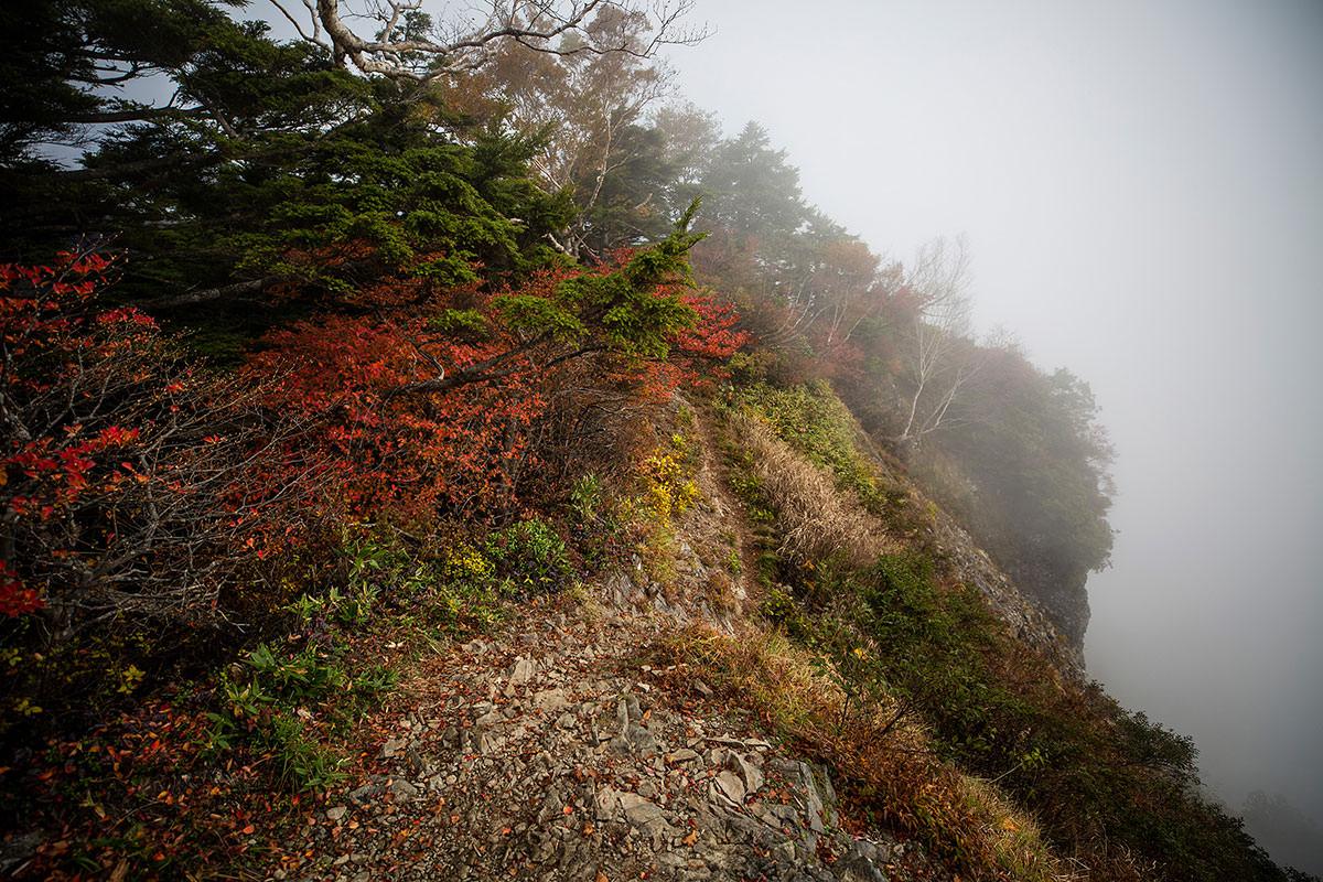 【乙妻山】登山百景-右側は崖