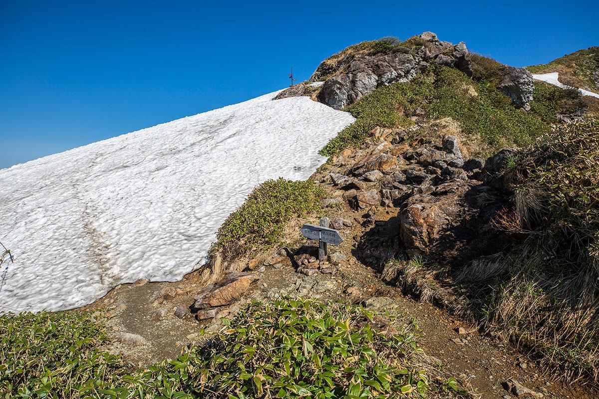 雪渓の上を歩く