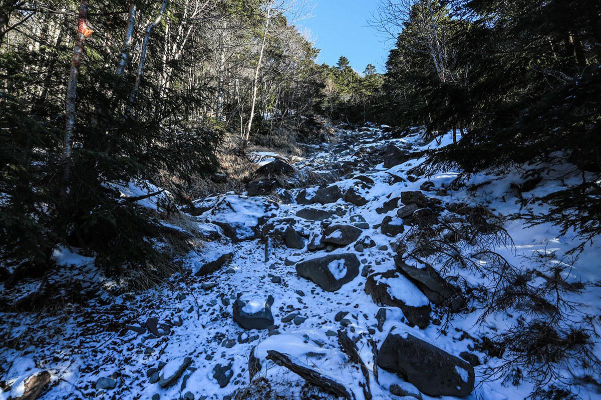 【蓼科山】登山百景-雪と岩の急登