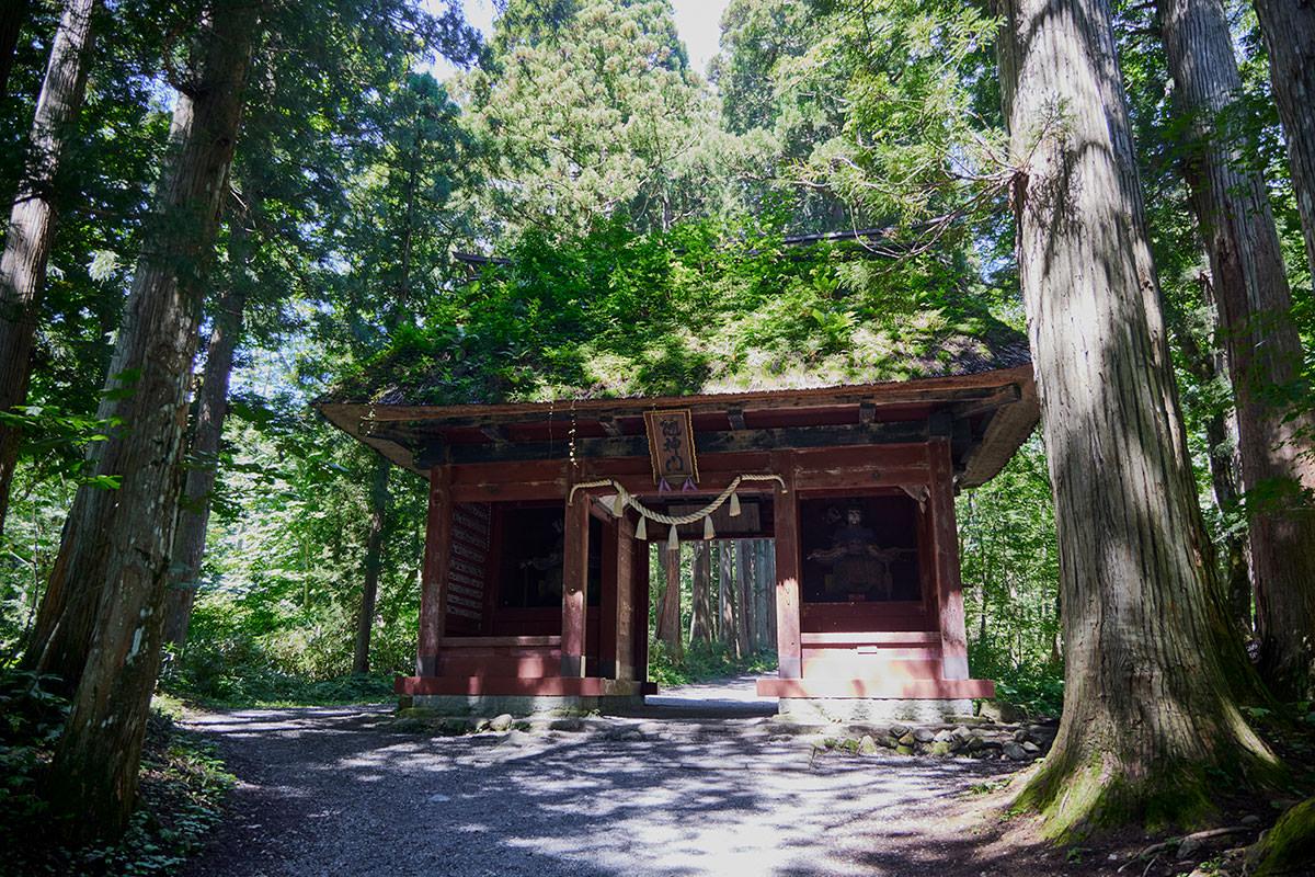 戸隠山-参道の中ほどには随神門