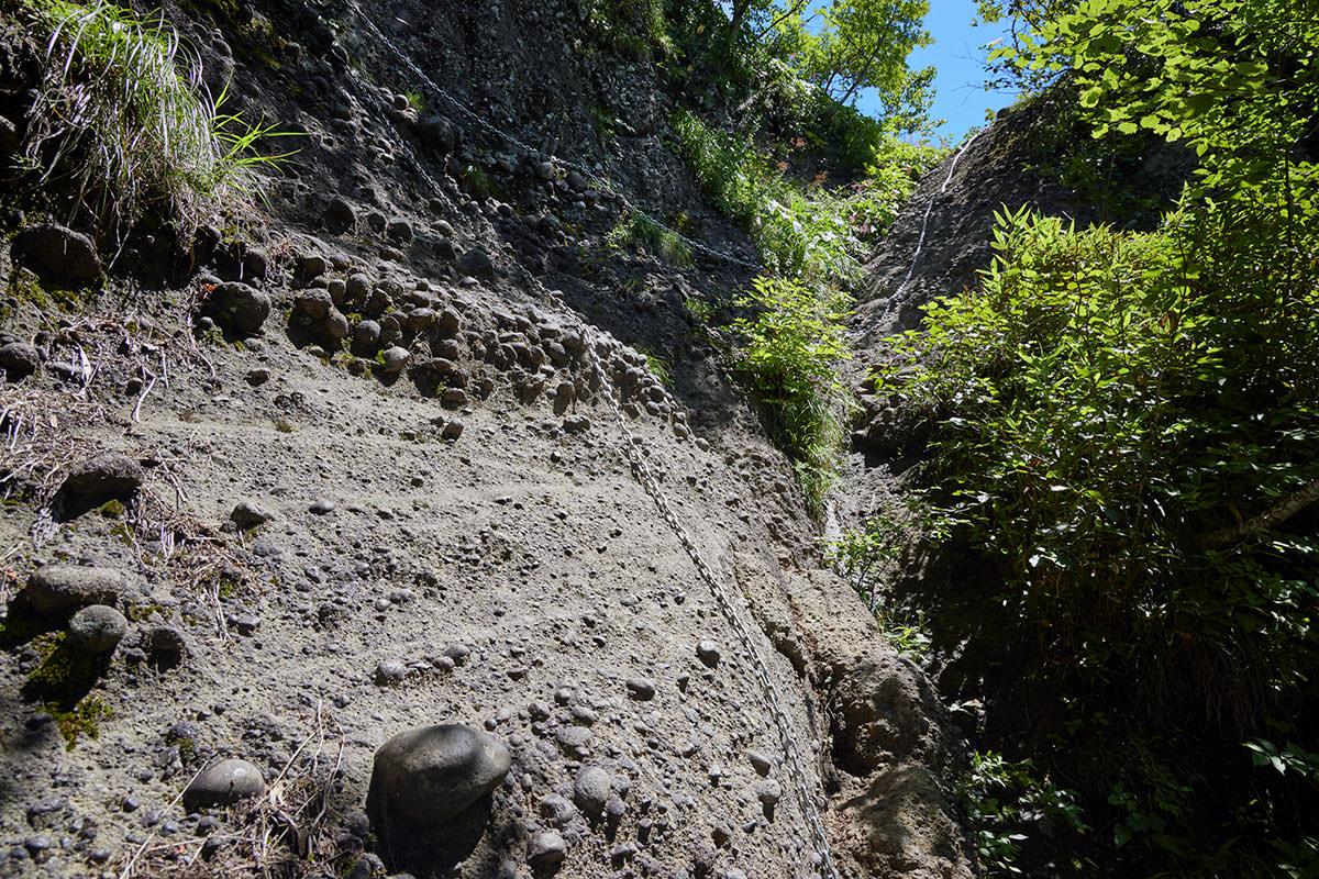 戸隠山-次の鎖場はコンクリートのような岩壁