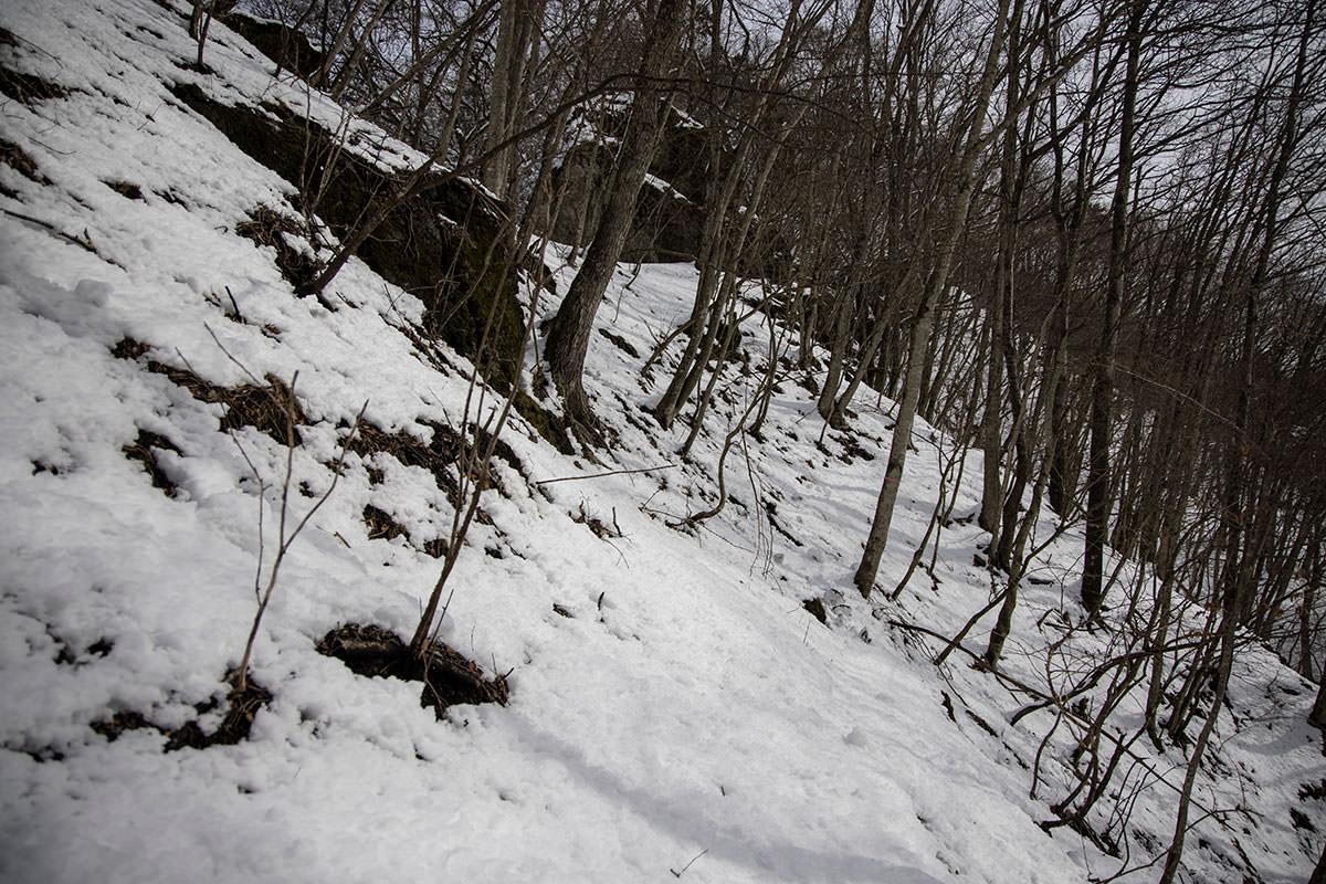 独鈷山-雪の下は落ち葉で滑りやすい