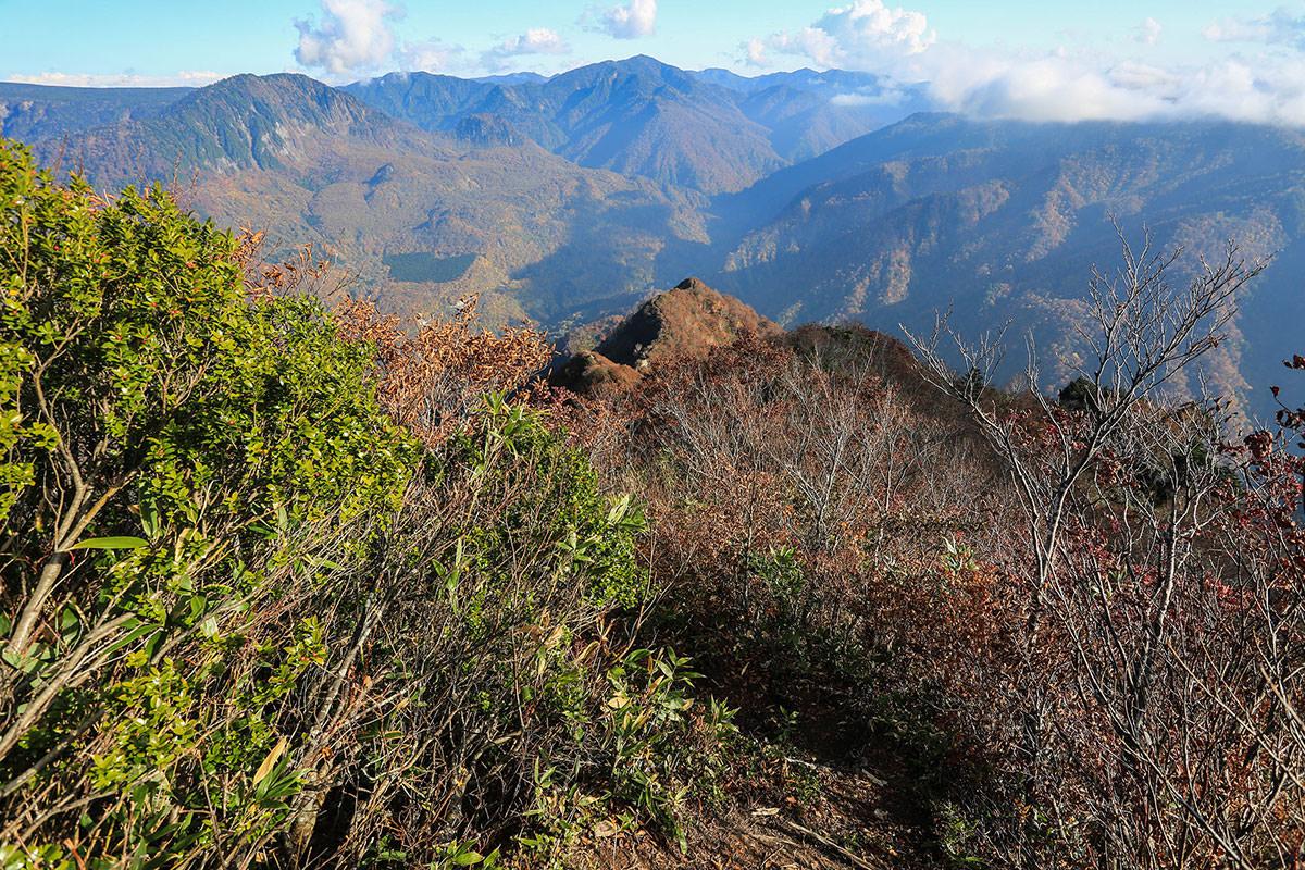 下の山の尾根まで登山道