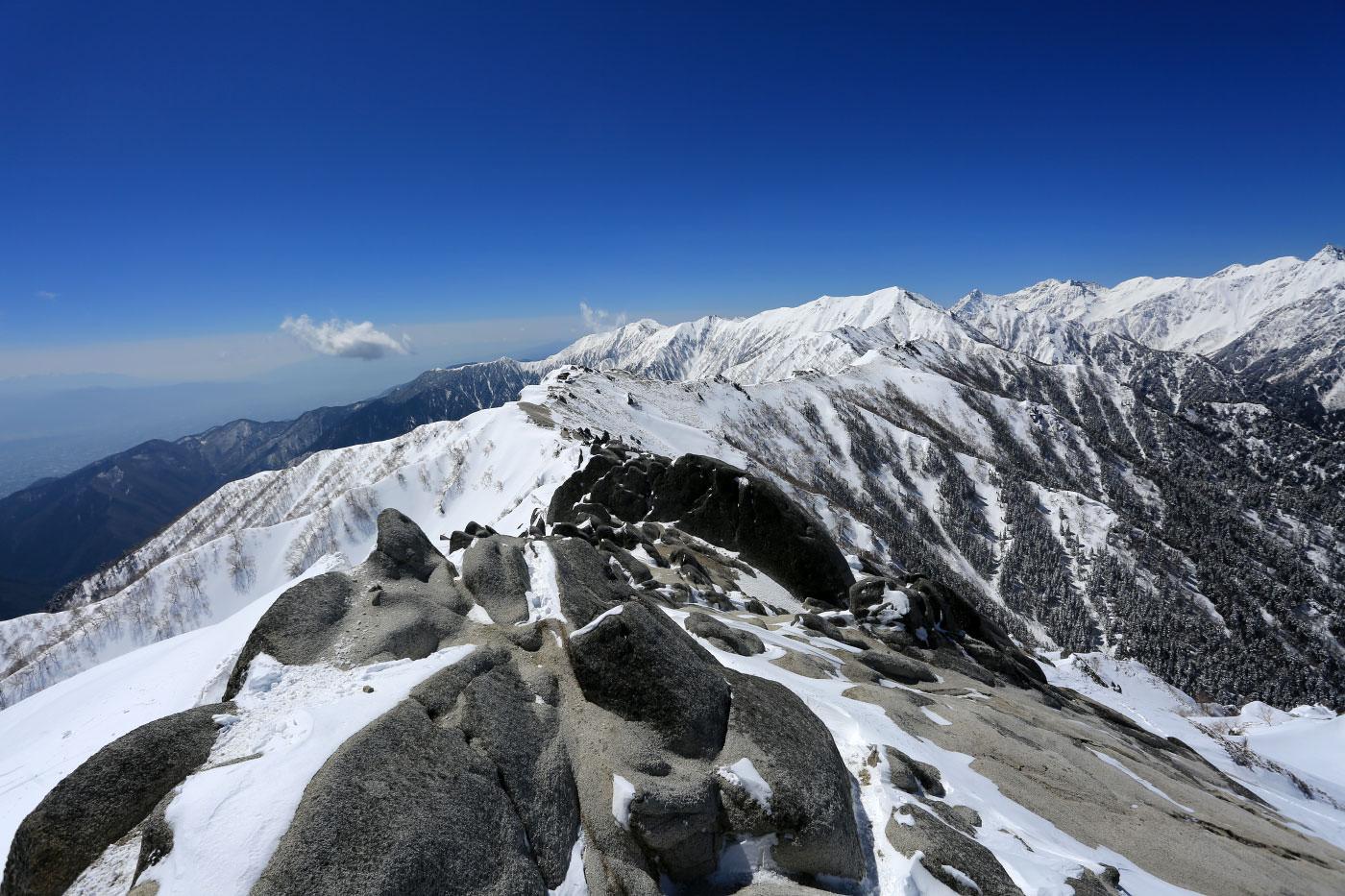 燕岳山頂からみる表銀座