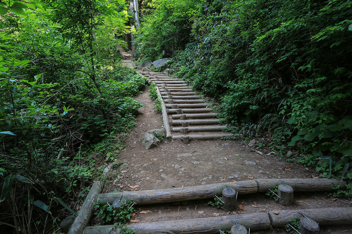 【筑波山】登山百景-狭い木段が続く