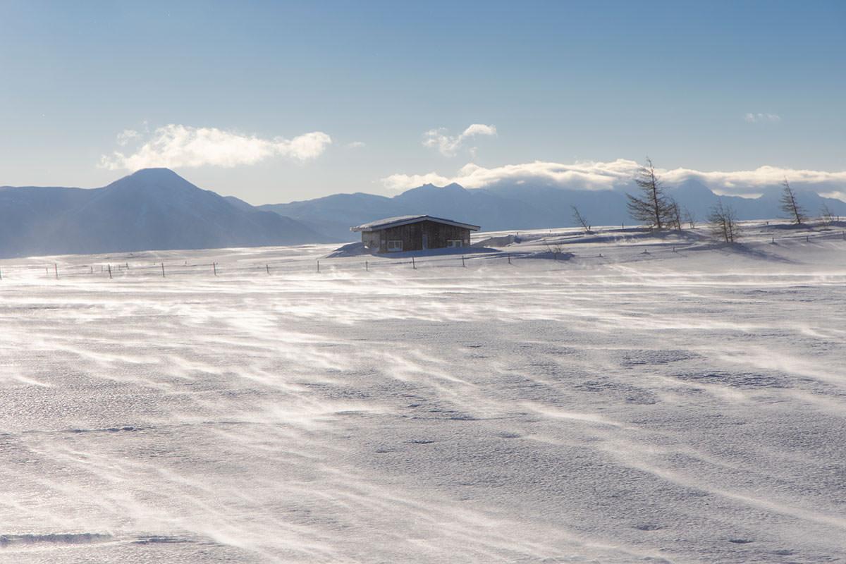 八ヶ岳を振り返ると雪が飛んでいく