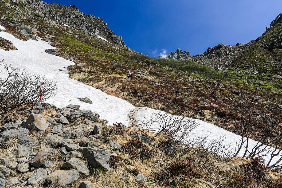 【焼岳 中ノ湯登山口】登山百景-雪はここだけ