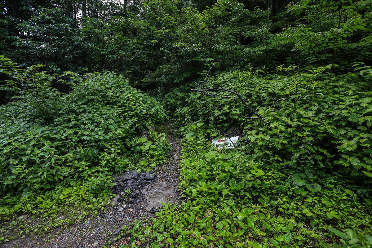 槍ヶ岳-登山道と書いてあるショートカット