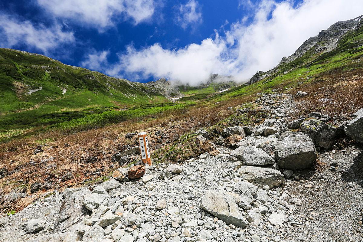 槍ヶ岳-千丈乗越への分岐。左へ行くと鎌尾根。