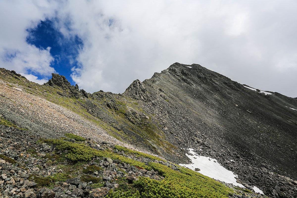 槍ヶ岳-右に大喰岳が見える