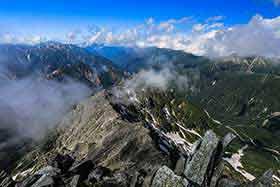 裏銀座と後立山の方向