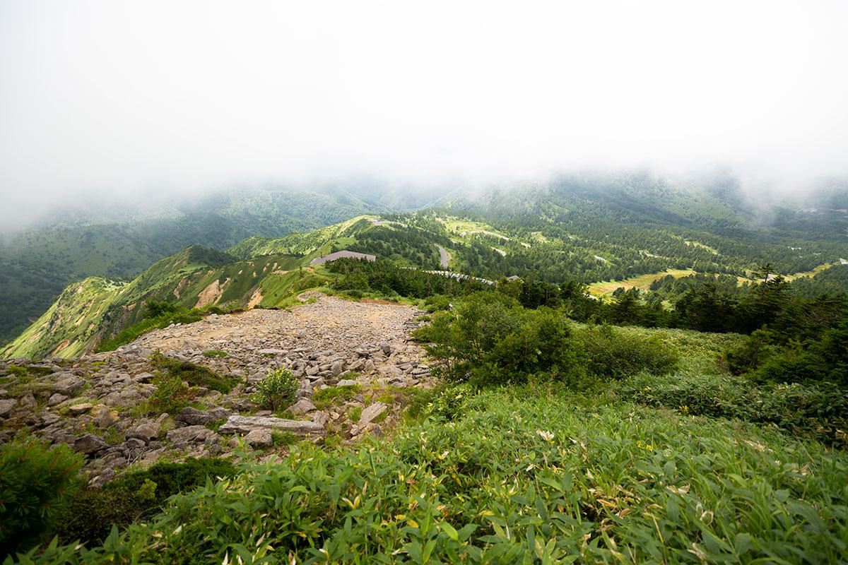 山頂から下の方は景色が見える