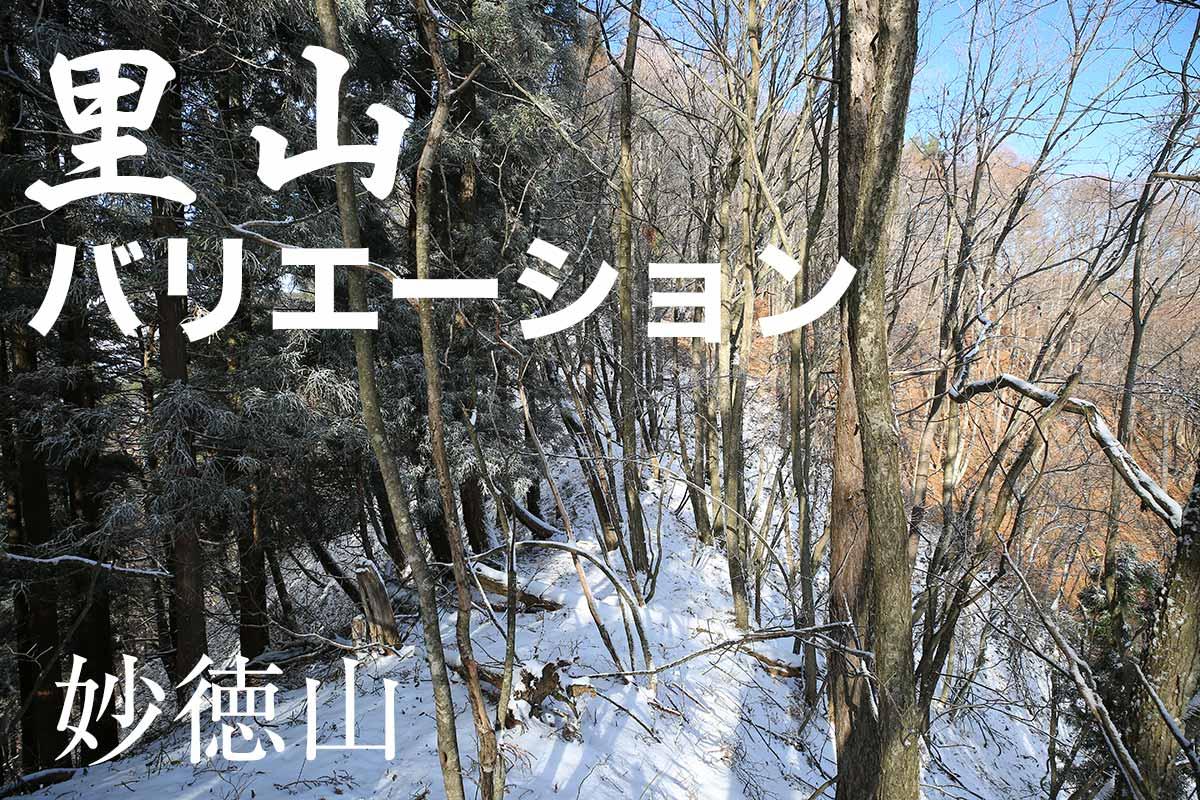 里山の雪景色と霧氷の妙徳山